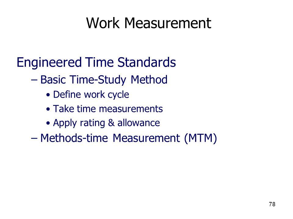 Work Measurement Engineered Time Standards Basic Time-Study Method