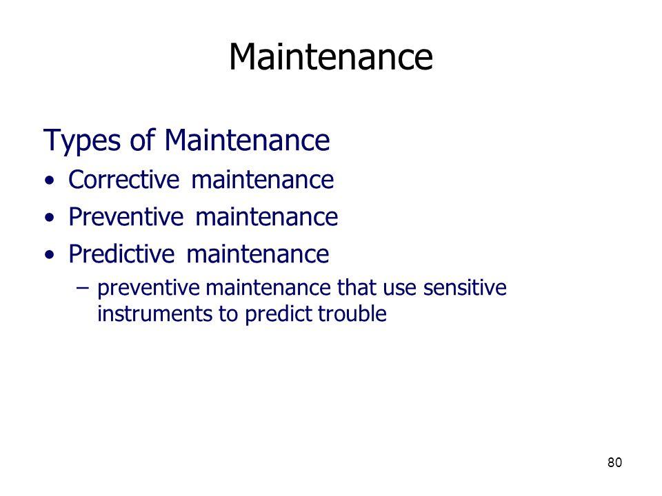 Maintenance Types of Maintenance Corrective maintenance