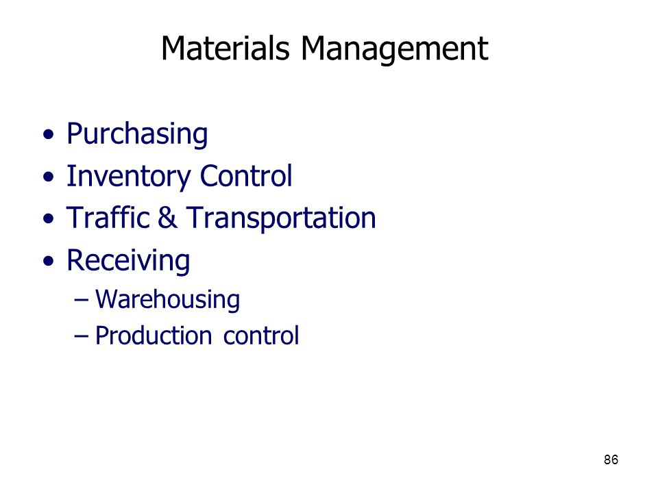 Materials Management Purchasing Inventory Control