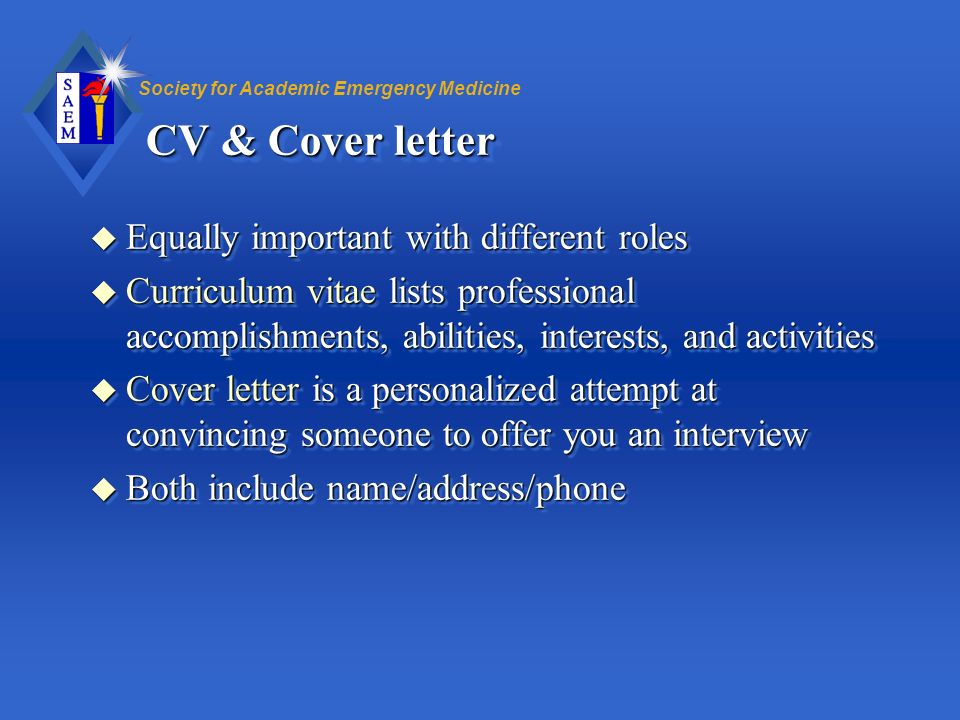 CV & Cover letter Equally important with different roles