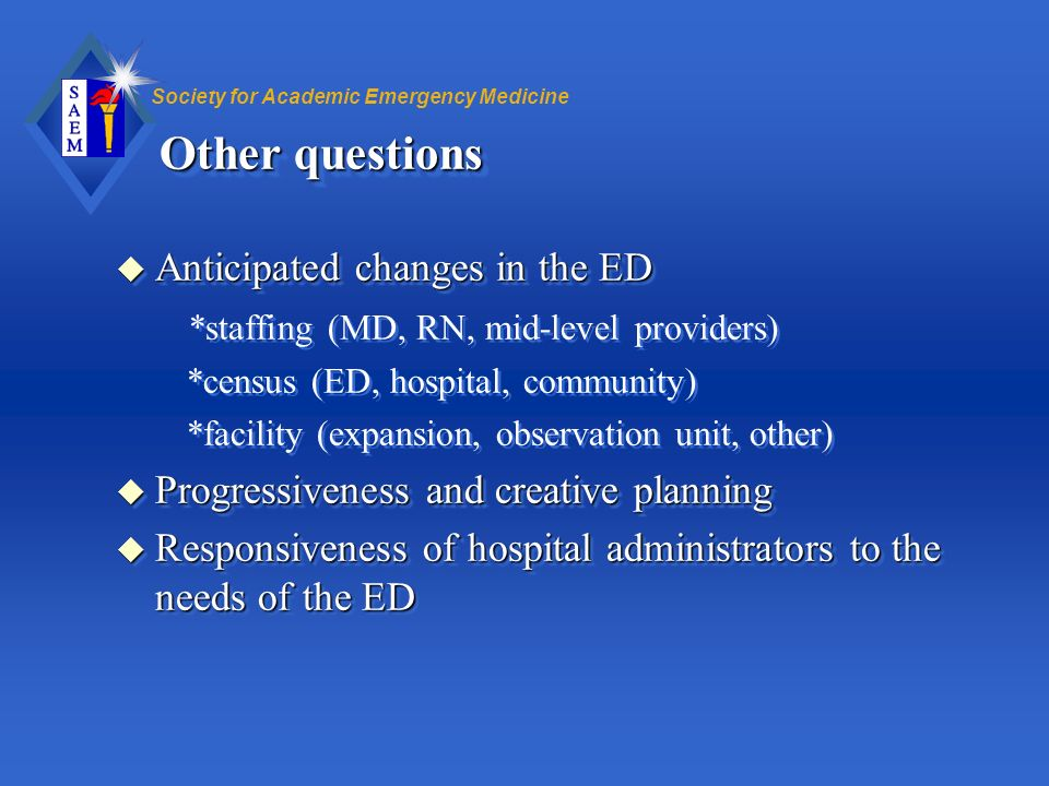 Other questions Anticipated changes in the ED