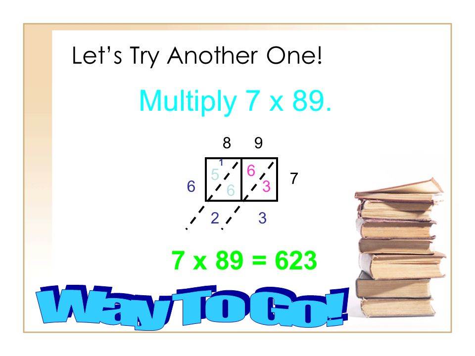 Multiply 7 x 89. 7 x 89 = 623 Let's Try Another One! Way To Go! 8 9 6