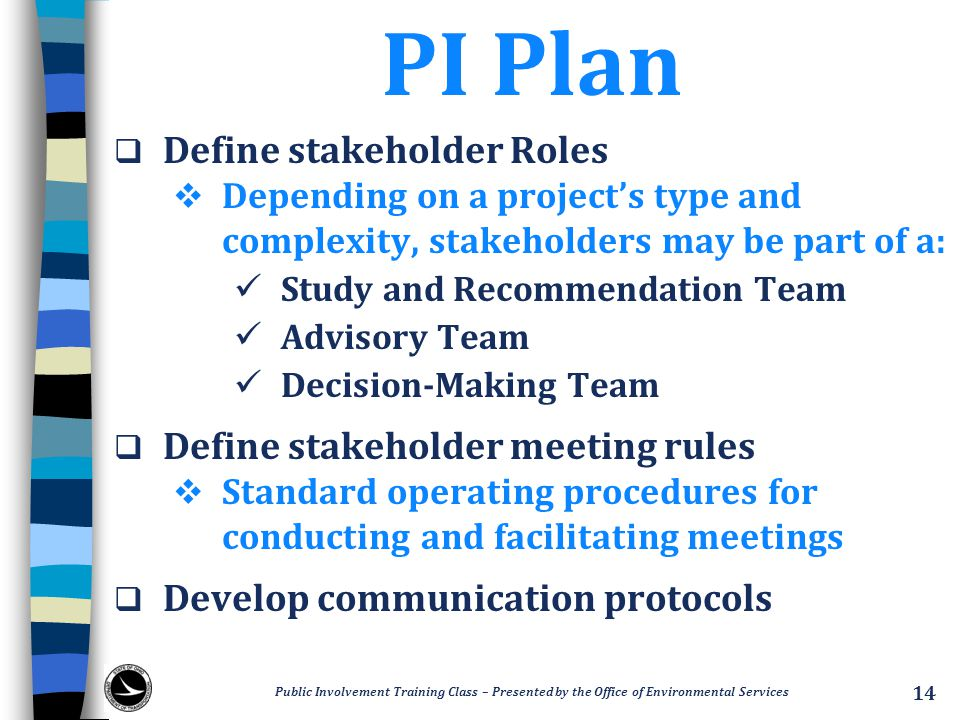 PI Plan Define stakeholder Roles Define stakeholder meeting rules