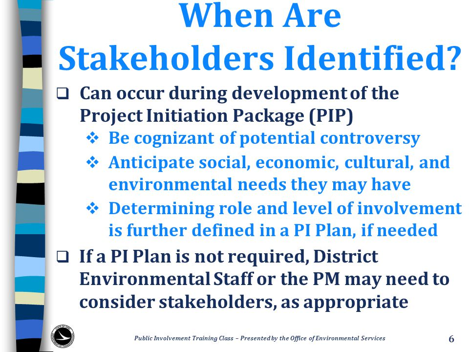 When Are Stakeholders Identified