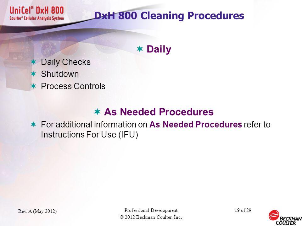 DxH 800 Cleaning Procedures