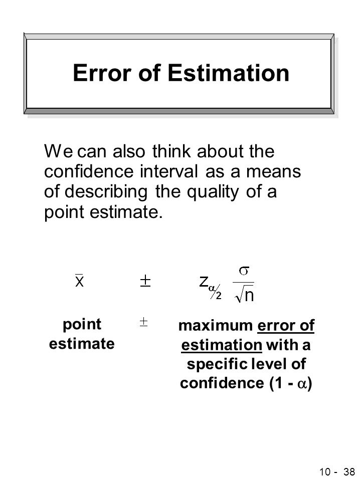 Error of Estimation We can also think about the confidence interval as a means of describing the quality of a point estimate.