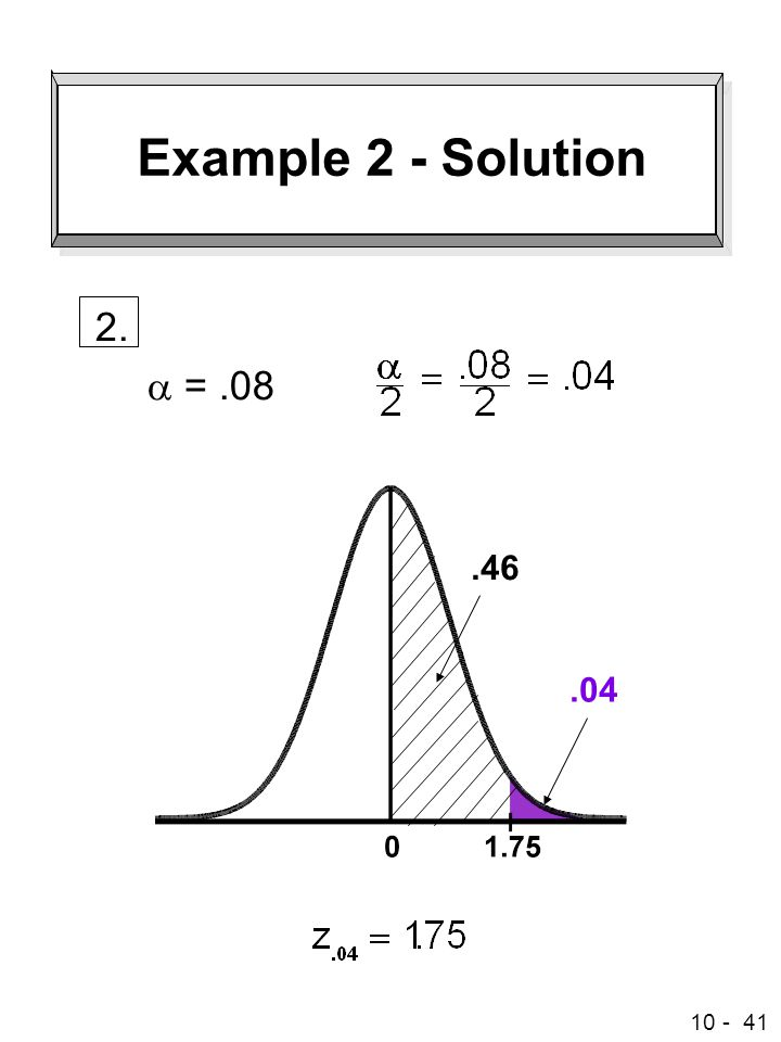 Example 2 - Solution 2. a =