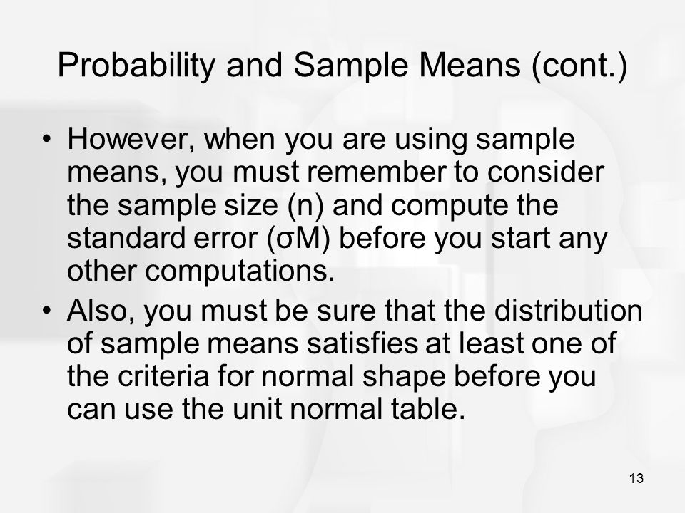 Probability and Sample Means (cont.)