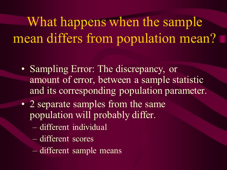 What happens when the sample mean differs from population mean