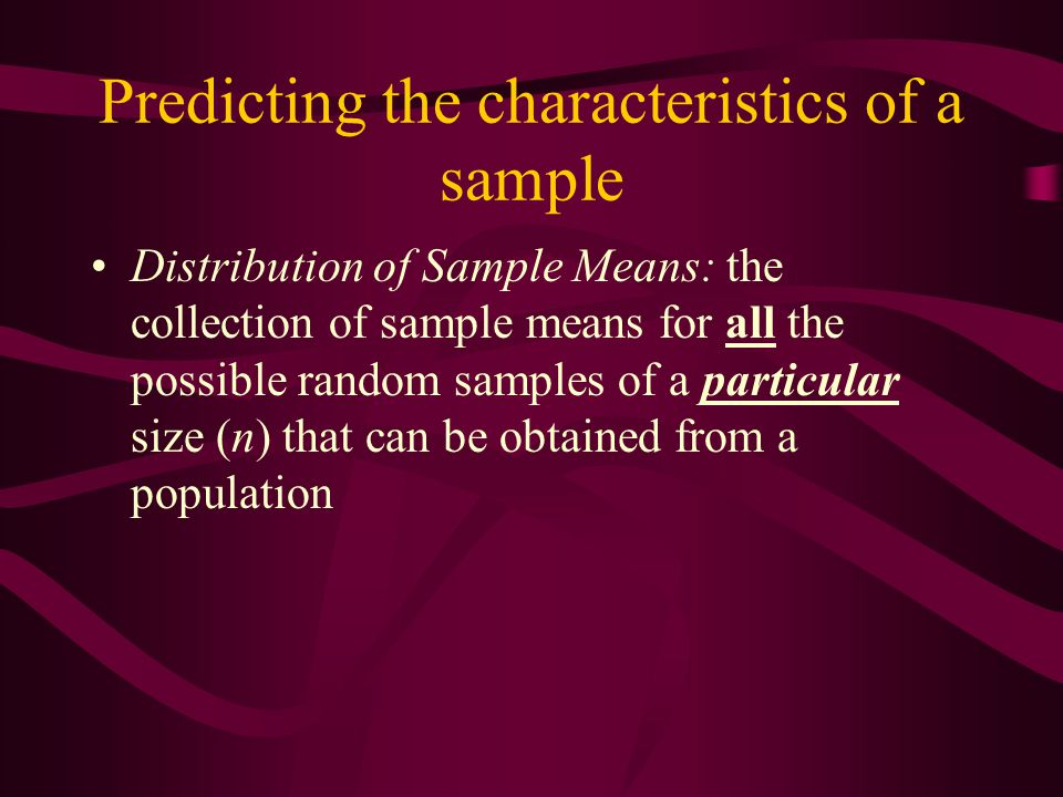 Predicting the characteristics of a sample