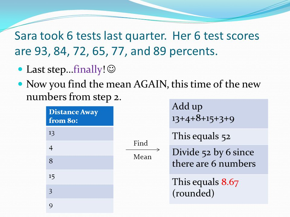 Sara took 6 tests last quarter