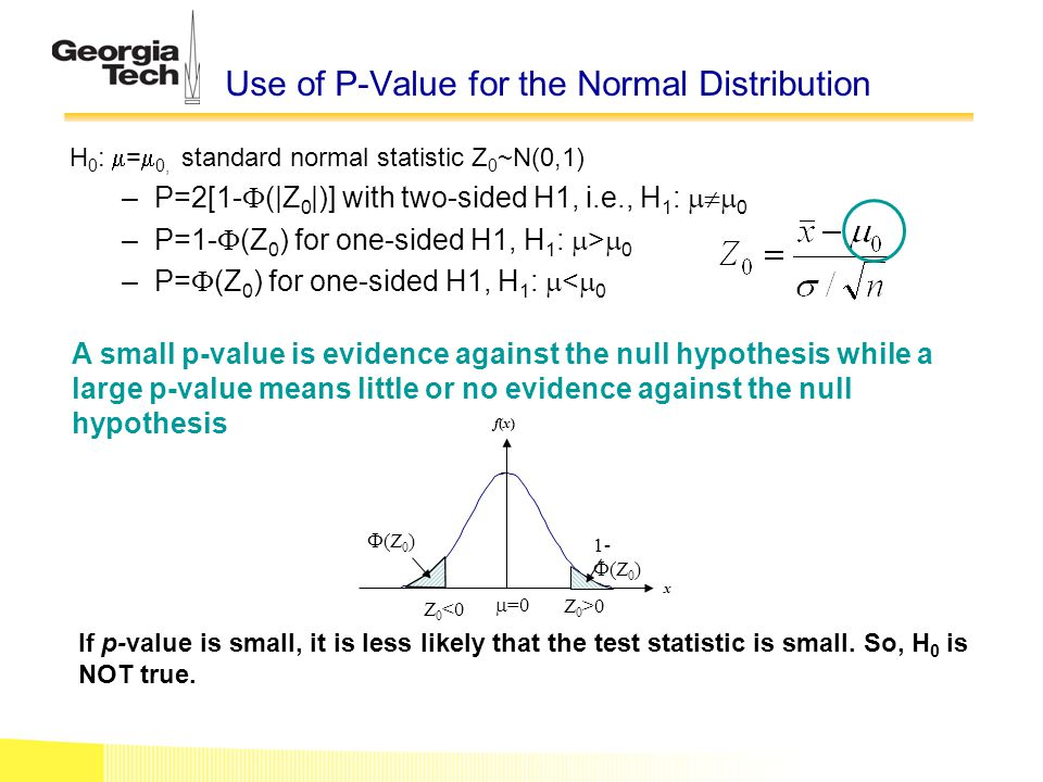 Use of P-Value for the Normal Distribution