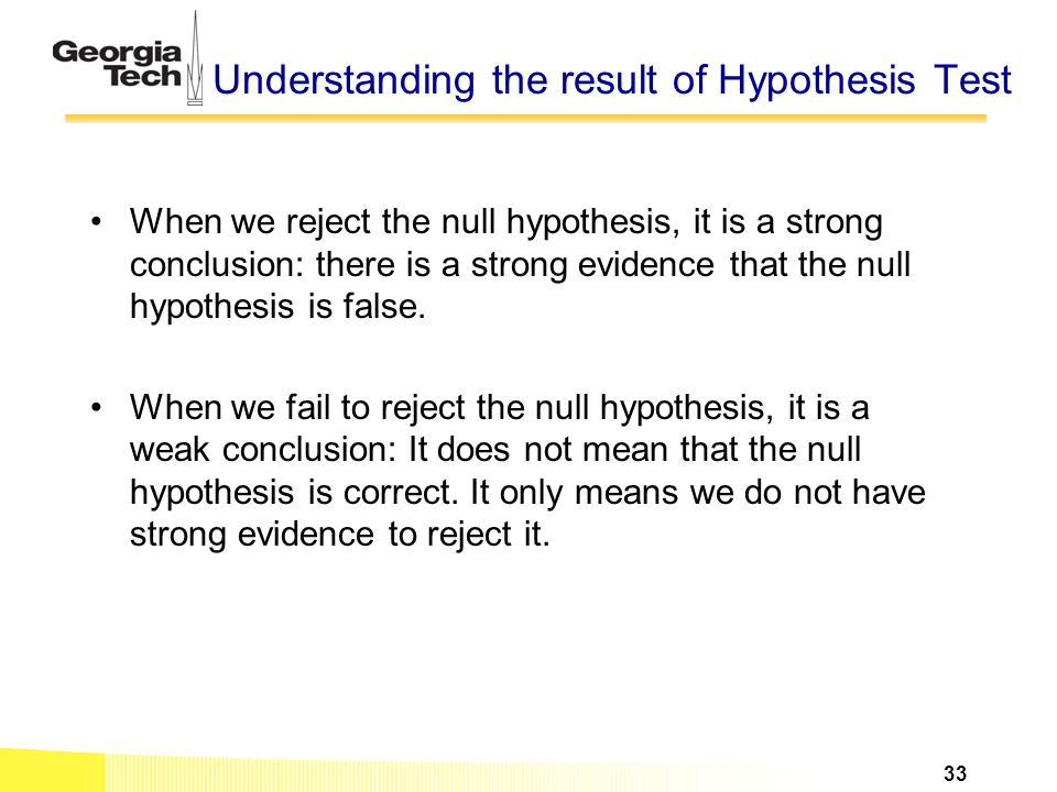 Understanding the result of Hypothesis Test