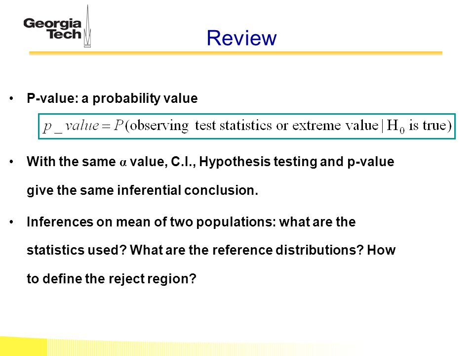 Review P-value: a probability value