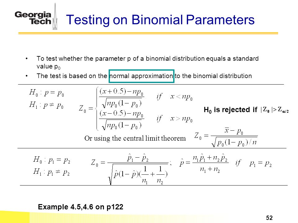 Testing on Binomial Parameters