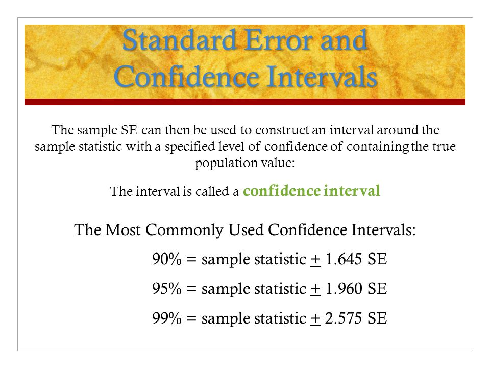 Standard Error and Confidence Intervals