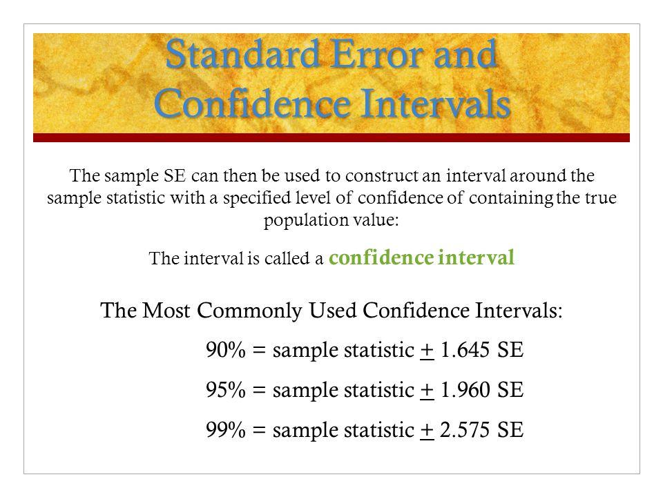 Standard Error and Confidence Intervals