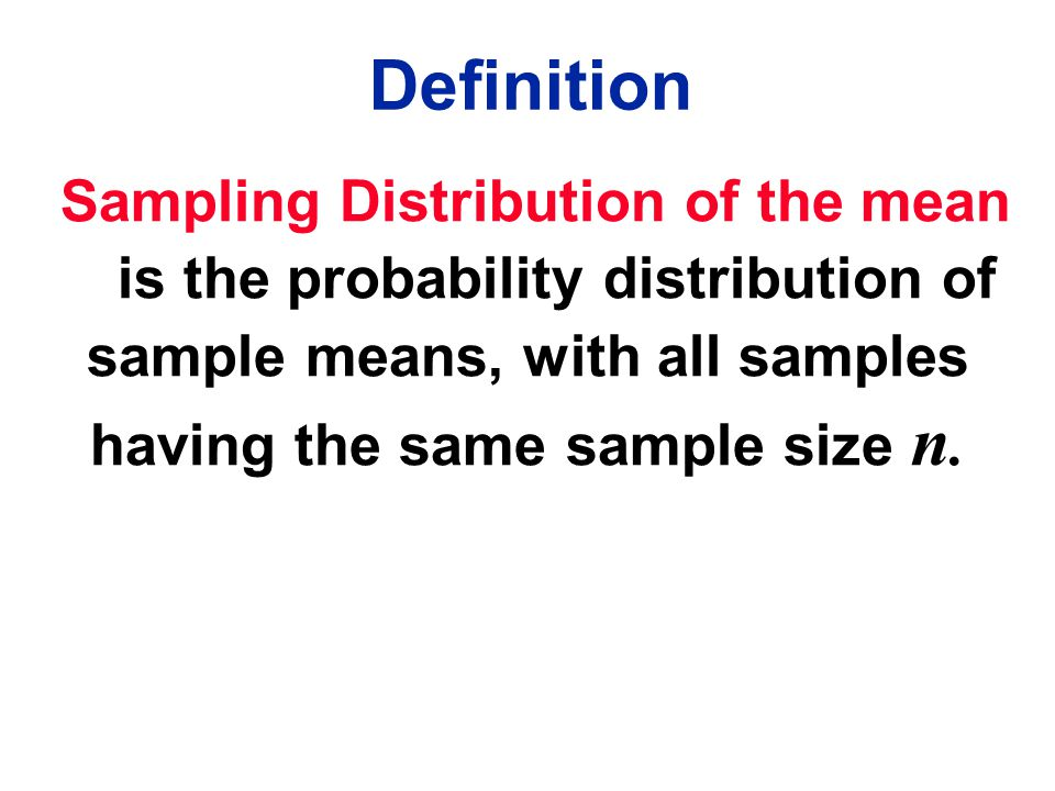 Definition Sampling Distribution of the mean