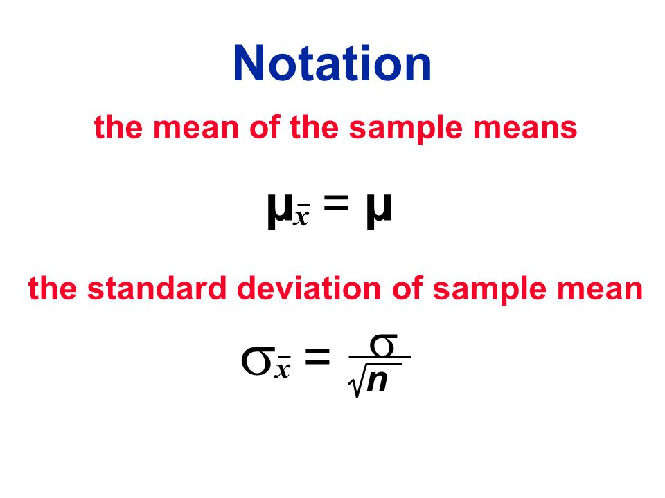 the standard deviation of sample mean