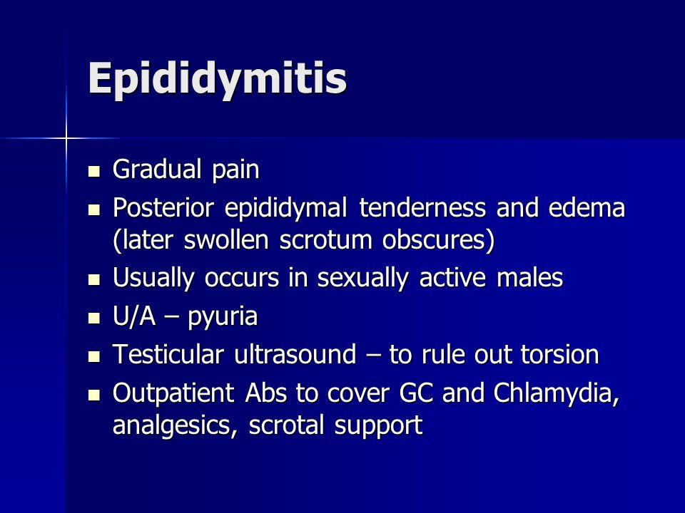 Epididymitis Gradual pain