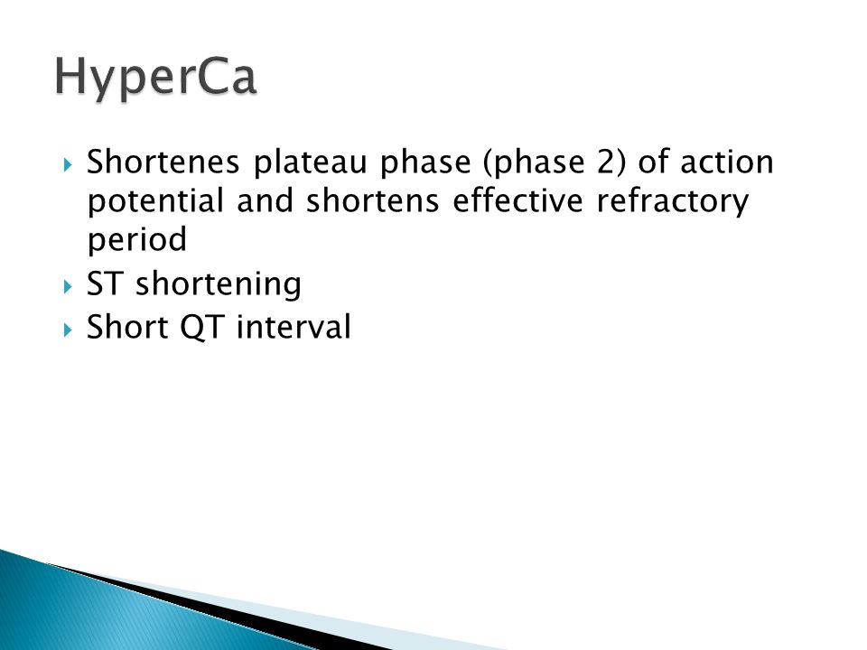 HyperCa Shortenes plateau phase (phase 2) of action potential and shortens effective refractory period.