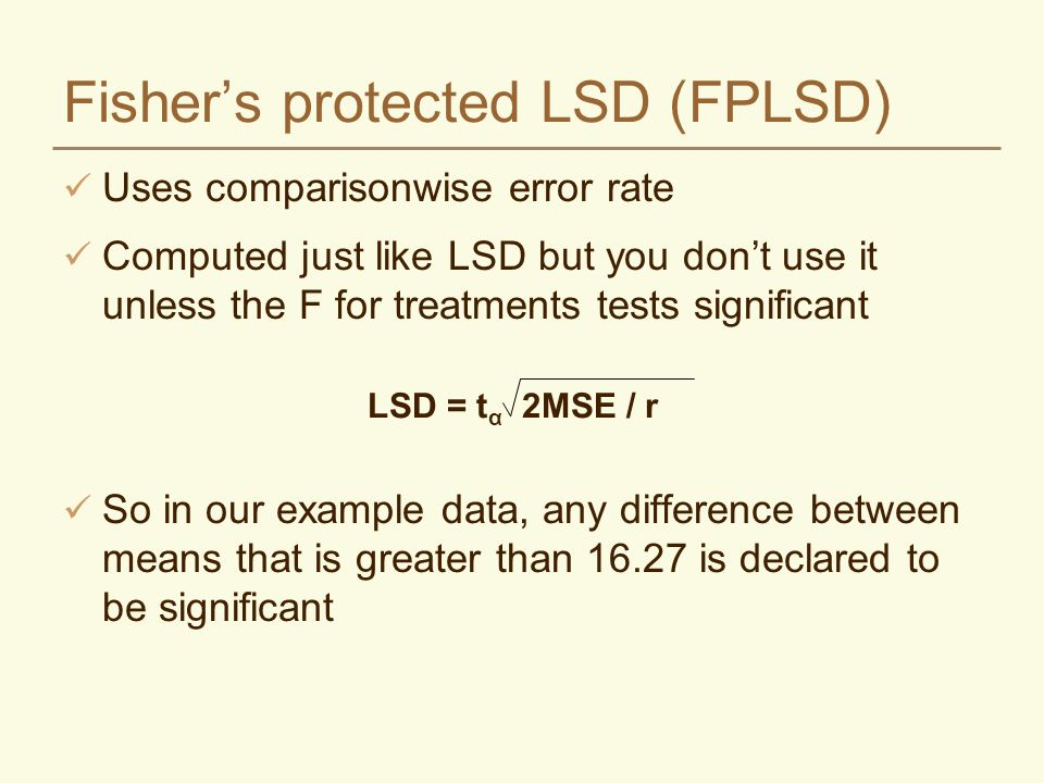 Fisher's protected LSD (FPLSD)
