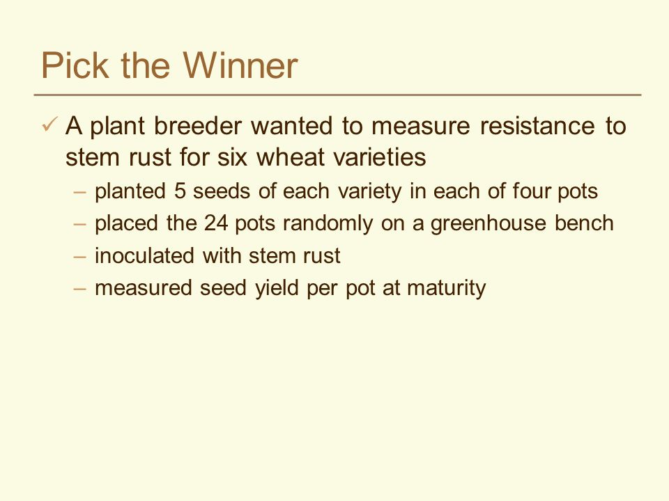 Pick the Winner A plant breeder wanted to measure resistance to stem rust for six wheat varieties.