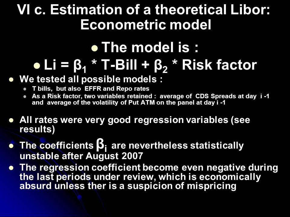 VI c. Estimation of a theoretical Libor: Econometric model