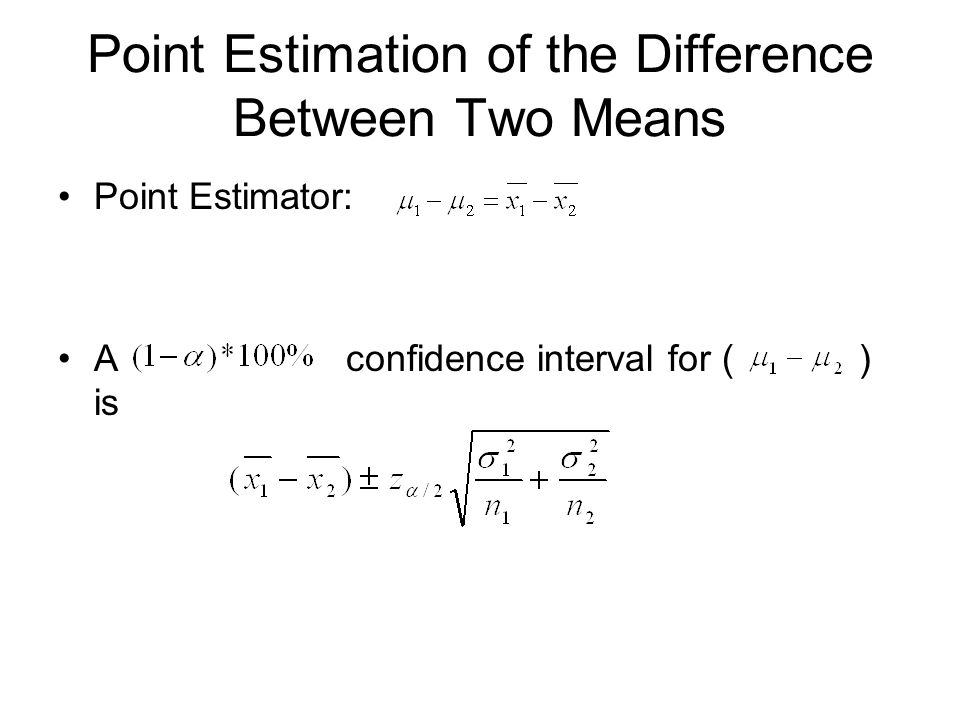 Point Estimation of the Difference Between Two Means