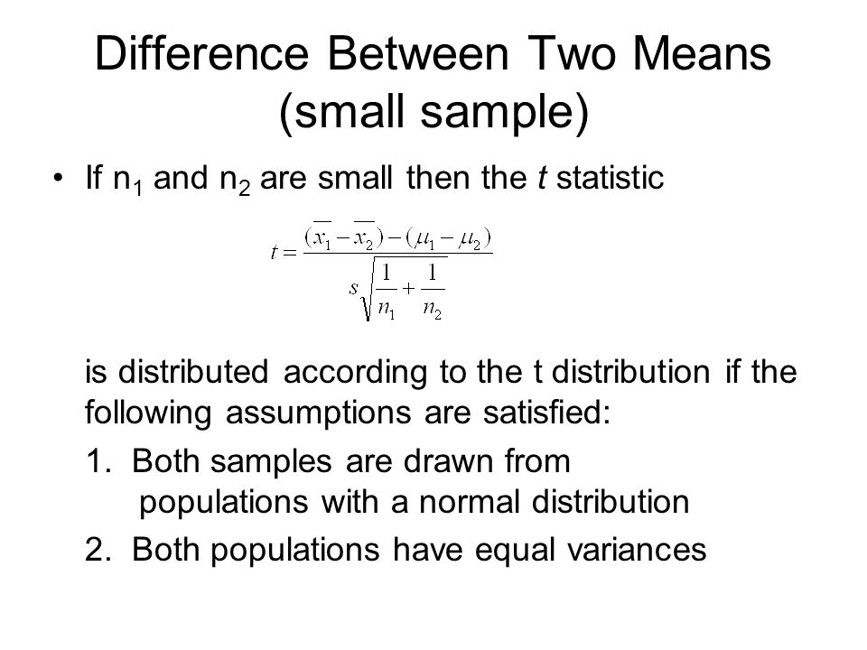 Difference Between Two Means (small sample)