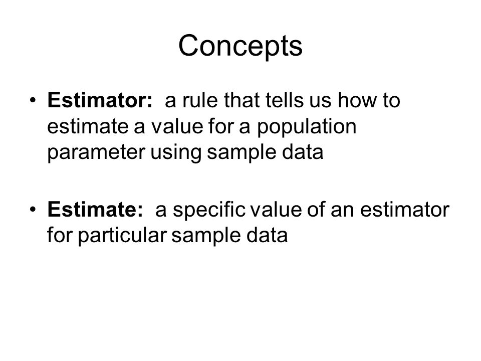 Concepts Estimator: a rule that tells us how to estimate a value for a population parameter using sample data.