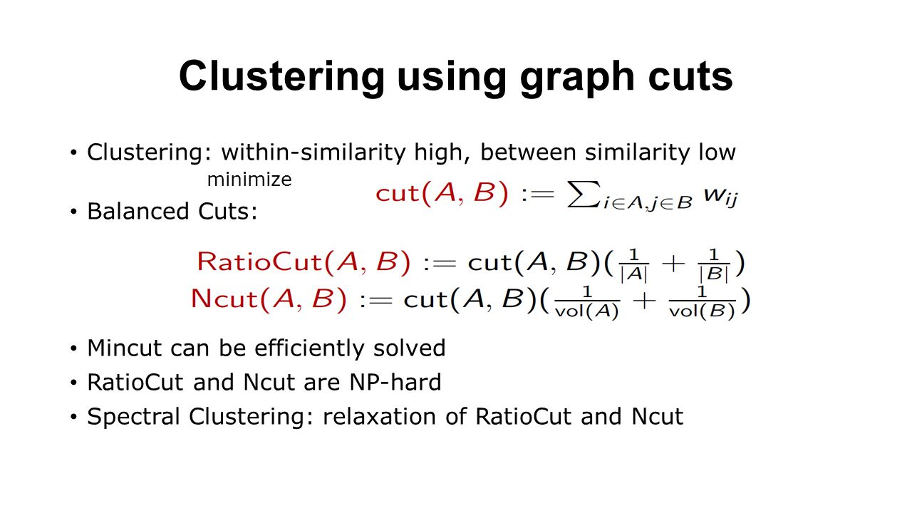 Clustering using graph cuts