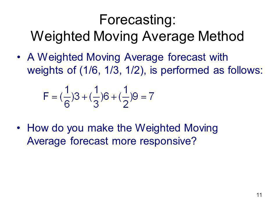 Forecasting: Weighted Moving Average Method