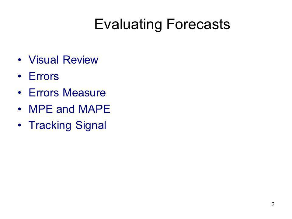 Evaluating Forecasts Visual Review Errors Errors Measure MPE and MAPE