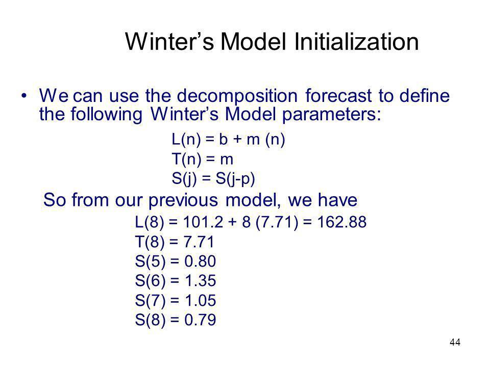 Winter's Model Initialization