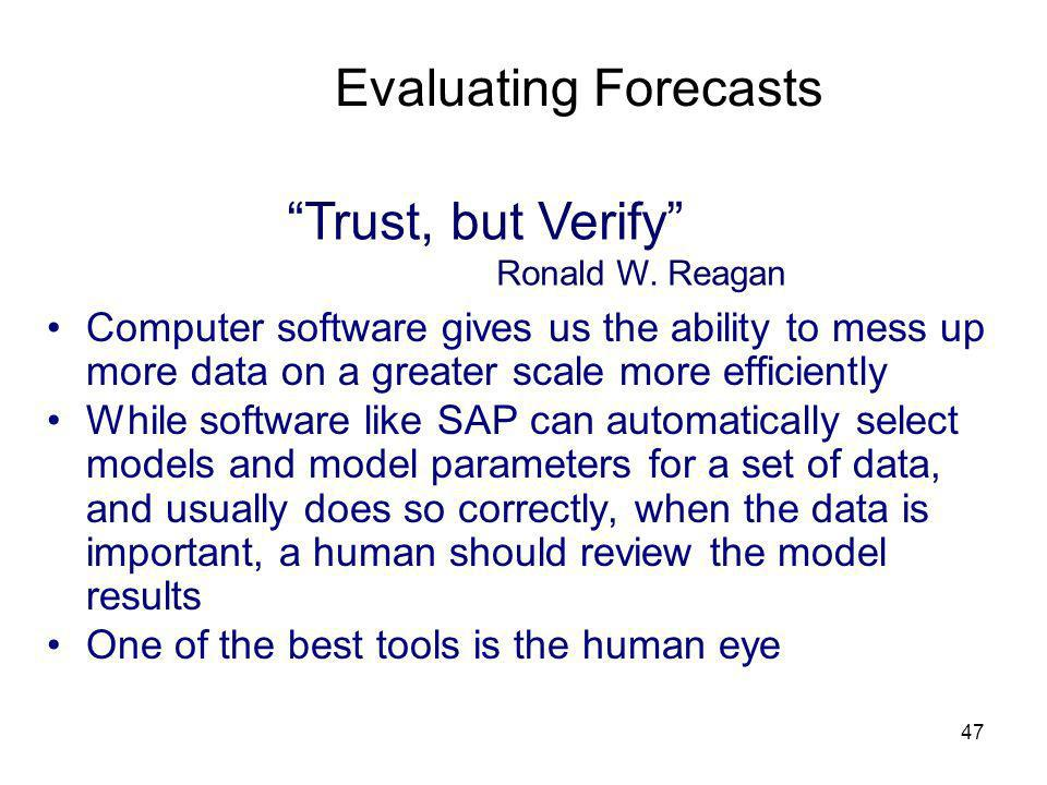 Evaluating Forecasts Trust, but Verify