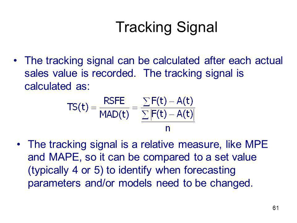 Tracking SignalThe tracking signal can be calculated after each actual sales value is recorded. The tracking signal is calculated as:
