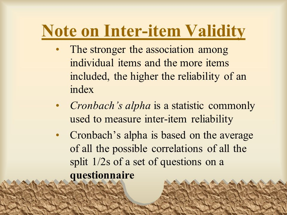 Note on Inter-item Validity