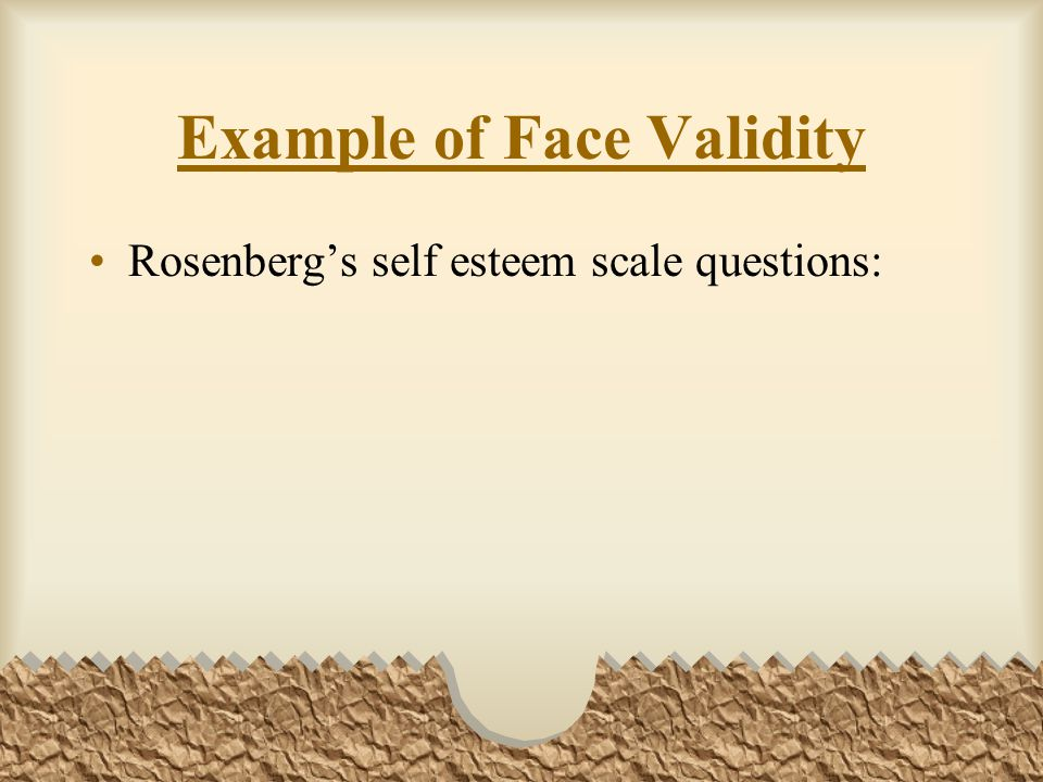 Example of Face Validity
