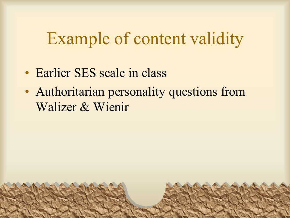 Example of content validity