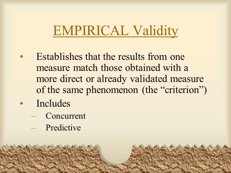 EMPIRICAL Validity