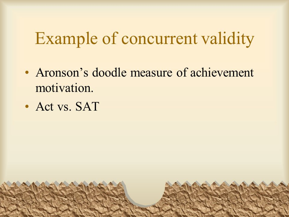 Example of concurrent validity