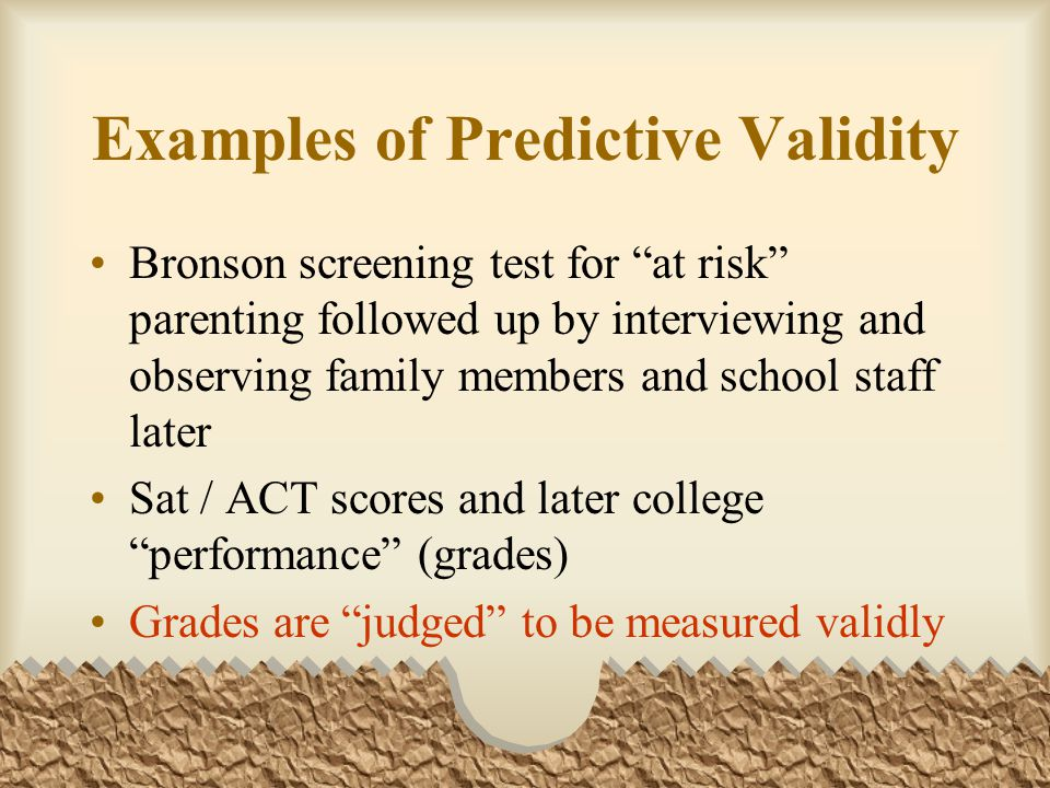 Examples of Predictive Validity