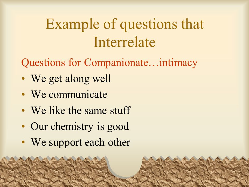 Example of questions that Interrelate