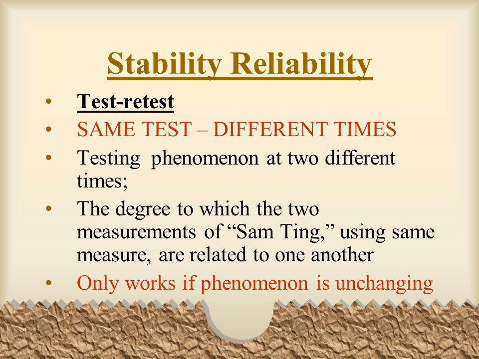 Stability Reliability