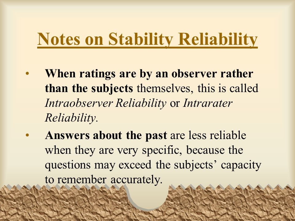 Notes on Stability Reliability