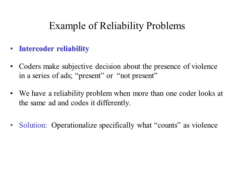 Example of Reliability Problems