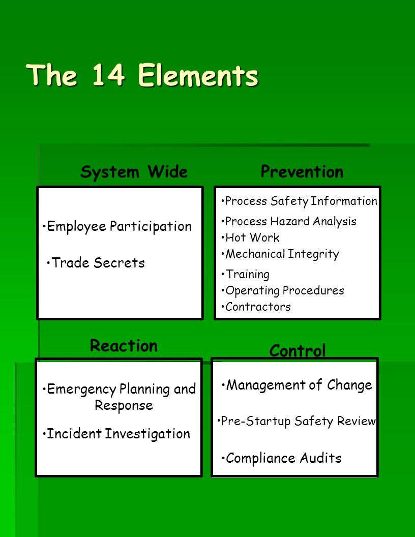 The 14 Elements System Wide Prevention Reaction Control