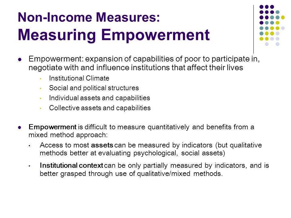 Non-Income Measures: Measuring Empowerment