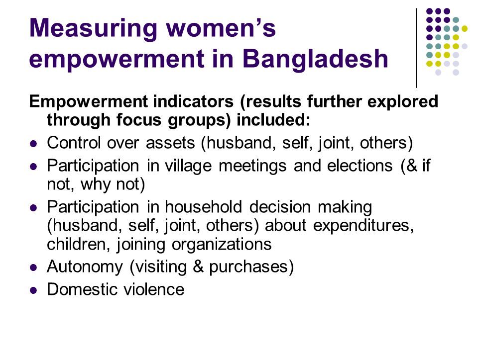 Measuring women's empowerment in Bangladesh